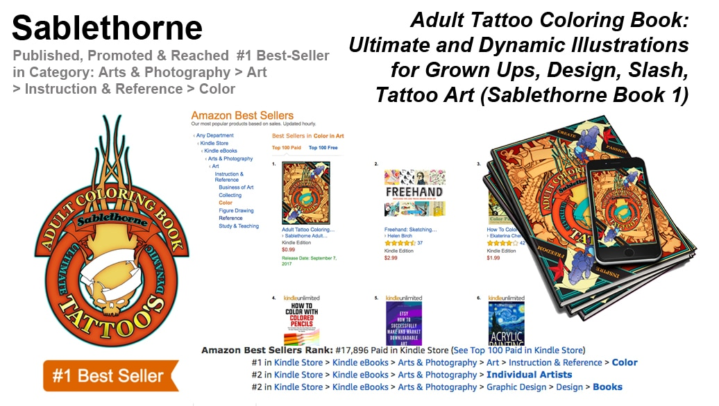 Sablethorne Hits #1 on the Amazon.com best-seller list with their Adult Tattoo Coloring Book