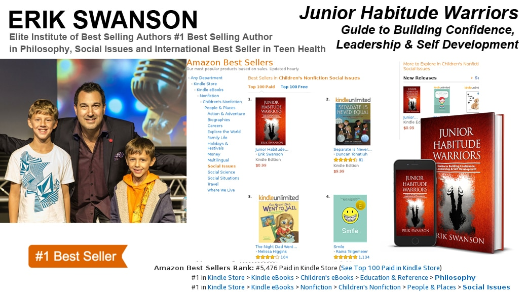 "Erik Swanson Hits Six-Time #1 Amazon Best-Seller List with his book ""Junior Habitude Warriors – Guide to Building Confidence, Leadership & Self Development"""