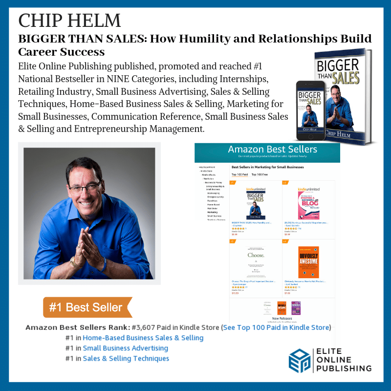 Author Chip Helm Hits #1 National Bestseller with BIGGER THAN SALES